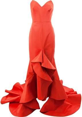 Oscar de la Renta strapless flared ruffled gown