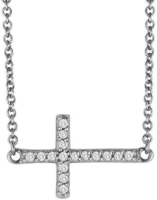 JCPenney FINE JEWELRY 1/10 CT. T.W. Diamond Sterling Silver Mini Sideways Cross Pendant