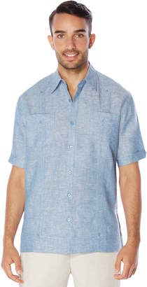Cubavera 100% Linen Short Sleeve 2 Pocket Cross Dye Guayabera