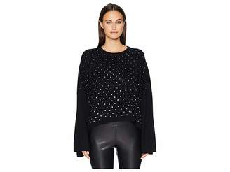 The Kooples Wide Sleeve Pullover with All Over Rhinestones