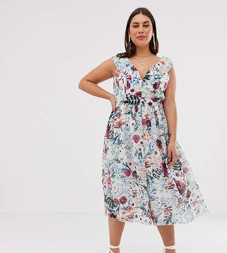 d9682522e8032 Little Mistress Plus all over midi skater dress in multi floral print