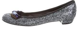 Miu Miu Glitter Embellished Flats