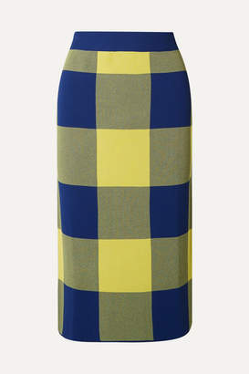 Derek Lam Gingham Stretch Jacquard-knit Midi Skirt - Yellow