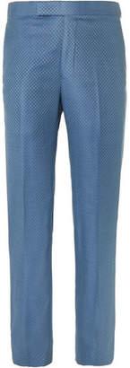 Richard James Blue Slim-Fit Super 130s Silk And Wool-Blend Jacquard Suit Trousers