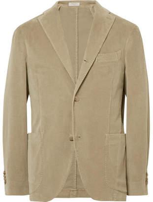 Boglioli Beige Slim-Fit Stretch-Cotton Corduroy Suit Jacket
