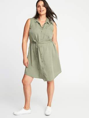 Old Navy Sleeveless Plus-Size Tie-Belt Shirt Dress