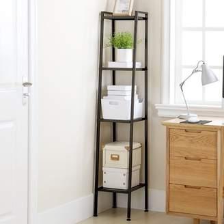 HURRISE 4-Tier Ladder Shelf Bookcases Corner Leaning Ladder Shelf,Black Small