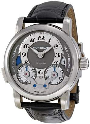 Montblanc Men's 'Nicolas Rieussec' Mechanical Hand Wind Stainless Steel and Leather Dress Watch