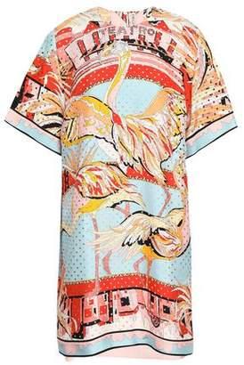 Emilio Pucci Perforated Printed Silk-twill Mini Dress