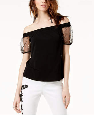 INC International Concepts I.n.c. Off-The-Shoulder Mesh-Sleeve Top, Created for Macy's