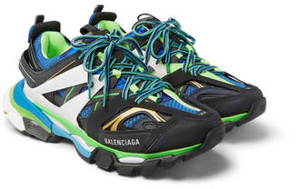 Balenciaga Track Leather, Mesh and Rubber Sneakers - Men - Green