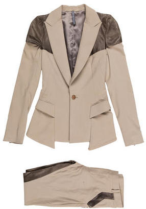 Todd Lynn Leather Paneled Two-Tone Suit w/ Tags $535 thestylecure.com