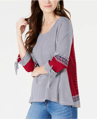 Style&Co. Style & Co Printed Tie-Sleeve Top