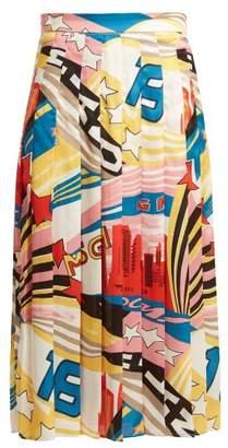 MSGM Pop Milano Print Satin Skirt - Womens - White Multi