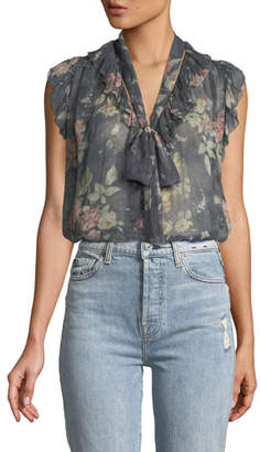 Zimmermann Unbridled Frill Floral Ruffle Blouse