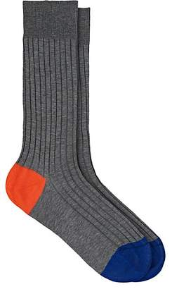 Barneys New York Men's Colorblocked Stretch-Cotton Mid-Calf Socks