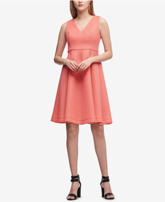 DKNY V-Neck Mesh Fit & Flare Dress, Created for Macy's