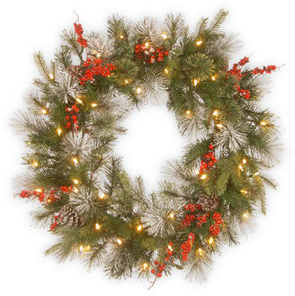 """National Tree Company 30"""" Feel Real Wintry Berry Collection Wreaths with Big Pine Cones, Red Berries & Snowy Bristle with 50 Warm White Battery Operated Led Lights w/Timer"""
