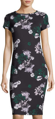 Carmen Marc Valvo Carmen By Short-Sleeve Floral Jersey Dress