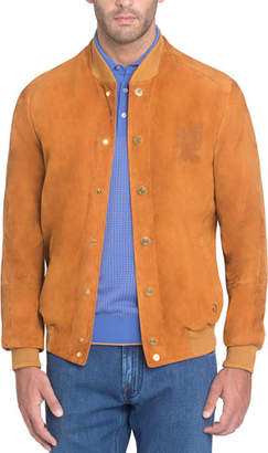 Stefano Ricci Snap-Front Suede Bomber Jacket