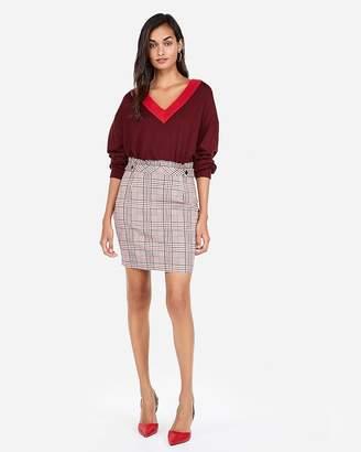 Express High Waisted Plaid Ruffle Midthigh Skirt