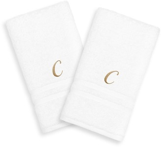 Linum Home Textiles Gold-Tone Script Denzi Single Letter 2-pack Monogram Hand Towel