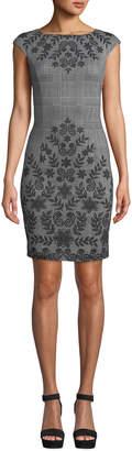 London Times Vine-Print Glen-Check Sheath Dress