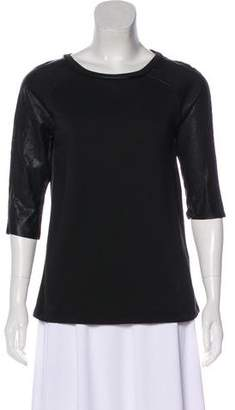 AllSaints Leather-Accented Short Sleeve Top