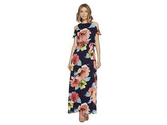Vince Camuto Printed Chiffon Cold Shoulder Maxi Women's Dress