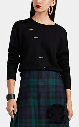 LE KILT Women's Embroidered-Button-Hole Wool Sweater - Black