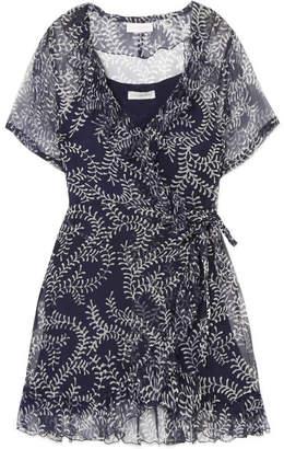 Cloe Cassandro - Kimi Printed Silk-crepon Wrap Mini Dress - Navy