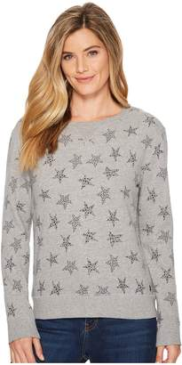 Life is Good All Over Stars Crew Sweatshirt Women's Fleece