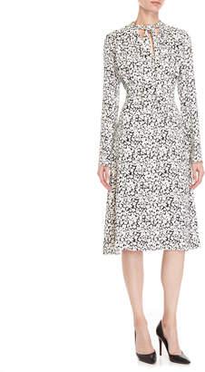 Derek Lam Tie-Neck Silk Midi Dress