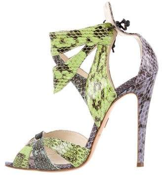 Brian Atwood Snakeskin Cutout Sandals