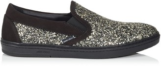 Jimmy Choo GROVE Black Suede and Gold Coarse Glitter Fabric Slip On Trainers