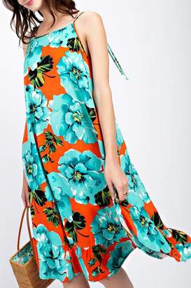 Easel Coral-Turquoise Sundress