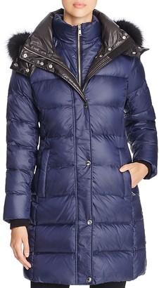 Andrew Marc Skylar Fox Fur-Trim Long Down Coat $595 thestylecure.com