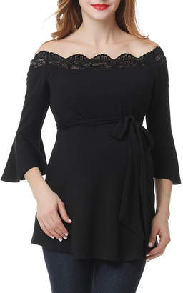 7553ad0ba4be81 Kimi and Kai Melisende Off the Shoulder Maternity Top