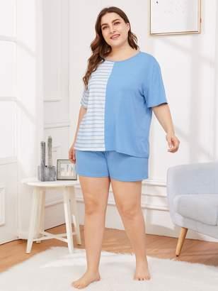 Shein Plus Striped Panel Pajama Set