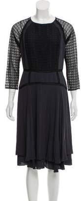 Rebecca Taylor Lace-Accented Crepe Dress