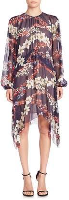 MSGM Women's Silk Handkerchief Hem Dress