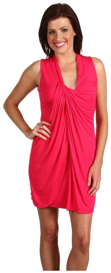Three Dots - Light Weight Sleeveless Draped Dress (Pink Punch) - Apparel