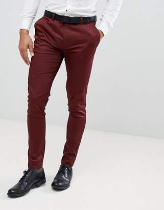 Asos WEDDING Super Skinny Smart Pants In Burgundy Cotton Sateen