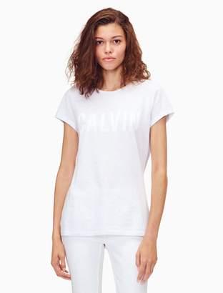 Calvin Klein striped logo cotton modal t-shirt