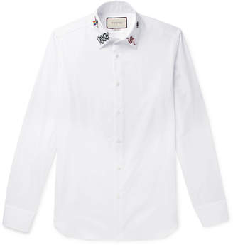 Gucci Duke Slim-Fit Embroidered Cotton-Poplin Shirt