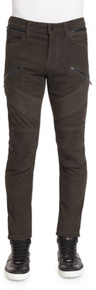 J Brand Orton Nubuck Leather Moto Pants, Taupe $1,398 thestylecure.com