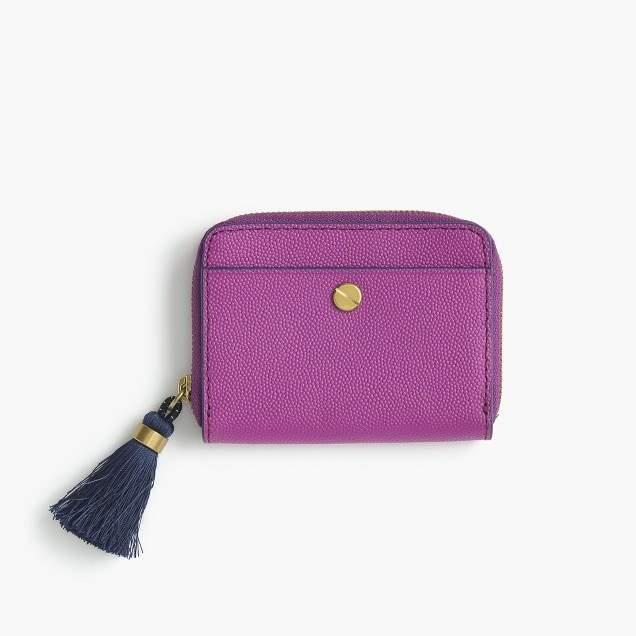 Italian leather card case with tasseled zipper