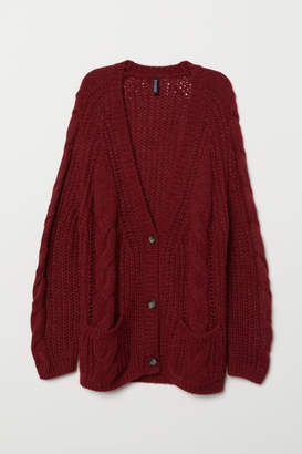 H&M Cable-knit Cardigan - Red