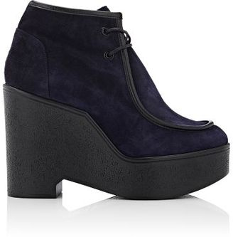 Robert Clergerie Women's Bora Suede Platform Moccasin Boots-NAVY $595 thestylecure.com