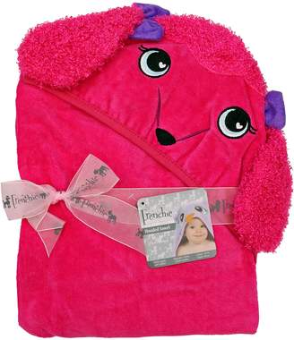 """Pink Poodle Extra Large 40""""x30"""" Absorbent Hooded Towel, Pink Poodle, Frenchie Mini Couture"""